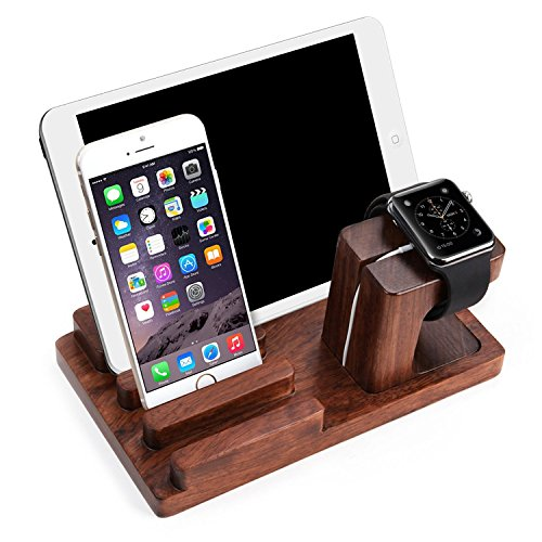 Apple Watch Stand,100% Natural Rosewood Wowo® Rosewood Charge Dock Holder for Apple Watch & Docking Station Cradle Bracket for Ipod Iphone Ipad & Other Phones Tablets