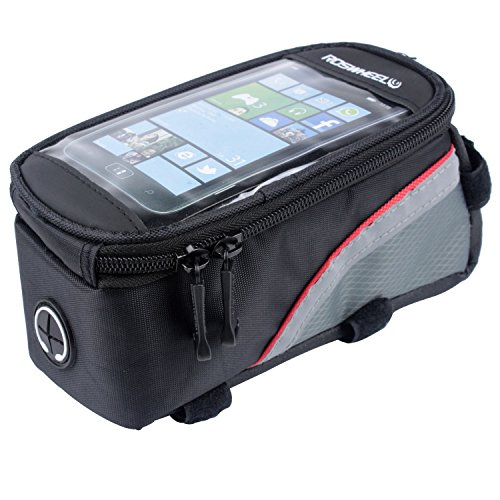 Layopo Roswheel Cycling Bicycle Frame Pannier Front Top Tube Bag Waterproof For 4.2 Inch Cell Phone, S With Layopo'S Carabiner front-34019
