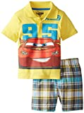 Disney Little Boys' Cars Boy Polo Woven Plaid Short Set- Yellow