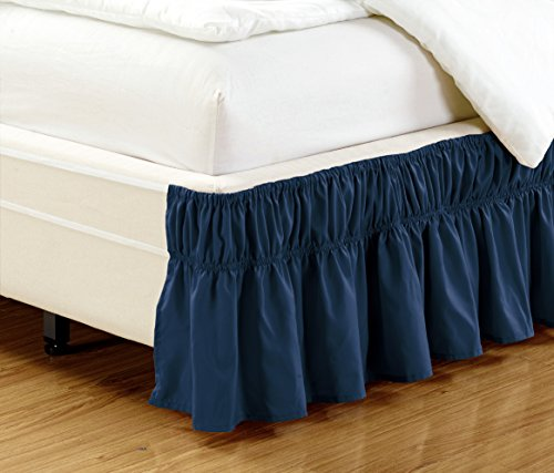 easy fit wrap around navy blue ruffled elastic solid bed