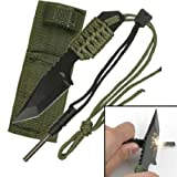 Rogue River Tactical Black Magnesium Fire Starter Rod Military Army Green Outdoor Fixed Blade Survival Knife Paracord wrapped Handle with Sheath