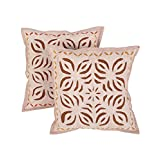Dazzling Set Of 2 Cushion Cover Floral Beige 17 X 17 Cotton Pillow Cases