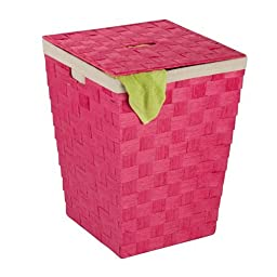 Honey-Can-Do HMP-03731 Woven Hamper with Natural Cotton Liner and Lid, Pink, 15 by 20 by Honey-Can-Do