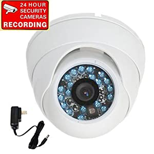"""VideoSecu 600TVL Built-in 1/3"""" SONY CCD Outdoor Dome Security Surveillance Camera Day Night Vision Vandal Proof IR Infrared 3.6mm Wide Angle Lens for Home CCTV DVR Surveillance System with Power Supply 1Z2"""