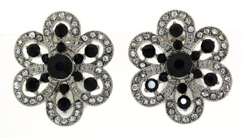 Austrian Crystal Flower Clip-On Earrings - Black Hematite