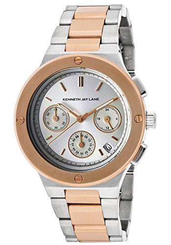 Kenneth Jay Lane Women's KJLANE-2131 Chronograph Silver Dial Two Tone Stainless Steel Watch
