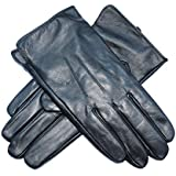 Jasmine Silk Mens Luxury Genuine Lambskin Leather Cashmere Lined Gloves BLACK