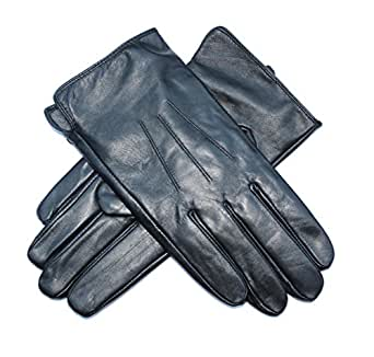 Jasmine Silk Mens Luxury Black Plain Leather Cashmere Lined Gloves (Large (9.5-10 inches))