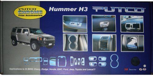 Interior Mirrors Putco 409002 Chrome Interior Trim Kit For Hummer H3 15 Piece