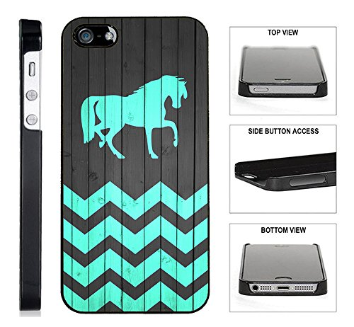 [TeleSkins] - Horse On Wood Teal Zig Zag Pattern - iPhone 4 / 4S Plastic Case - Ultra Durable Slim & HARD PLASTIC Protective Slim Snap On Designer Back Case / Cover [Fits iPhone 4 / 4S] (Iphone 4 Wood Cover compare prices)