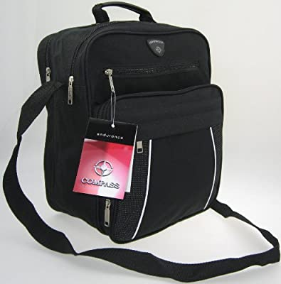 Compass Lightweight Cabin Size Hand Luggage Carry On Flight Bags shoulder bag 11 inches black