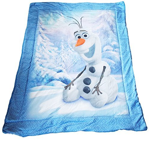 "Disney Frozen Olaf Baby Plush Soft Sherpa Blanket Blue Color 41"" X 53"" front-86014"
