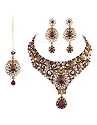I Jewels Traditional Gold Plated Kundan Necklace Set With Maang Tikka For Women(Maroon)(K7016M)