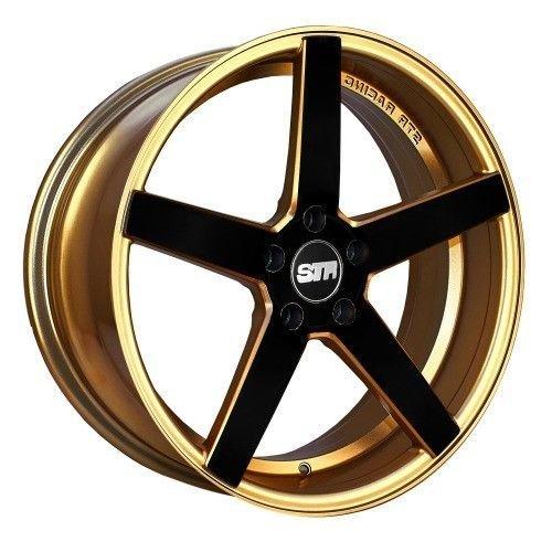 GOLD BLACK FACE STR 607 17X9 +15 5X114.3 RIM FIT TC XB TSX RSX MR2 CIVIC MUSTANG GT (Str Rims 17 Inch compare prices)