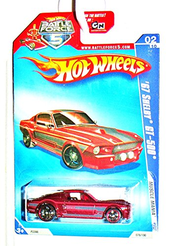 Hot Wheels 2009-078 (78) '67 Shelby GT-500 Muscle Mania Battle Force 5 Card 1:64 Scale 1:64 Scale - 1