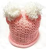 (ル・タン)Le TEMPS ハンドメイド ベビー用ニット帽子 ボンボン付 1~3歳用 網目(ピンク)