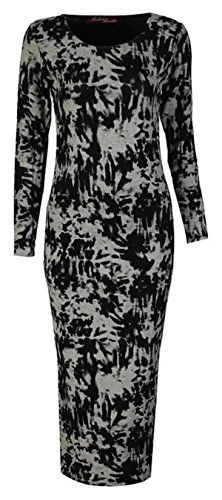 Fashionmark Womens Long Sleeves Aztec Skull Rose Tartan Leopard Stripe Diamond Print Midi Dress Ladies Printed Bodycon Midi Dresses (Ml=10/12, Tie Dye Black)