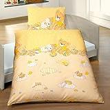 Kinderbutt Bettwäsche mit Druckmotiv Bären + Wolken Renforcé vanille Größe 100x135 cm (40x60 cm)