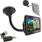 ChargerCity® OEM Gooseneck Windshield Suction Cup Mount for TOMTOM VIA 120 125 160 180 200 220 240 260 Start 20 25 60 65 GO 50 60 500 600 LIVE 820 825 Europe GPS Navigator w/Free Charger City Micro SD Memory Card Reader Writer *Item include Free ChargerC