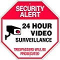 Security Alert - 24 Hour Video Surveillance - No Trespassing Embossed Metal Sign 11.5 x 11.5 Inches