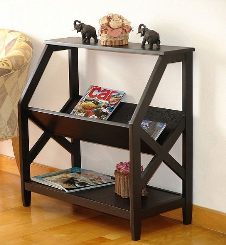Contemporary Black Finish X-Cross Design Bookshelf