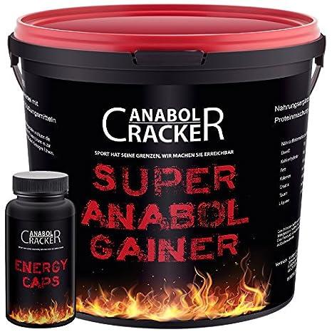 Super Anabol Gainer, Whey Protein Creatin Shake, 2400g Schoko oder Orangen Geschmack, Eiweiß Kohlenhydrat Pulver + 60 Energy Caps (Orange)