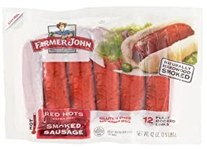 Farmer John Red Hots Extra Hot Sausage Links 42 Oz. Package (12 Links) by Farmer John