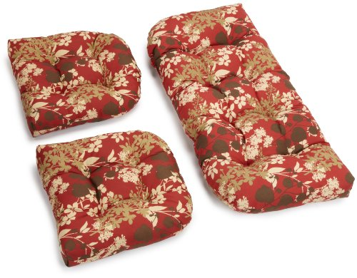 Blazing Needles Indoor/Outdoor Spun Poly All Weather UV Resistant Settee Group Cushions, Montfleuri Sangria, Set of 3 image
