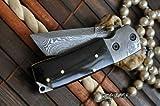 Custom Made Damascus Folding Knife Tanto Blade & Buffalo Horn Handle