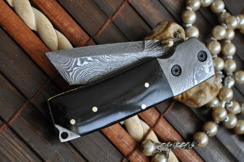 Custom Made Damascus Folding Knife Tanto Blade & Buffalo Horn Handle (Custom Made Neck Knife compare prices)