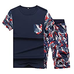 Men\'s Fashion Casual Sportwear T-Shirt + Printed Shorts Camouflage Pants Suits S Dark Blue
