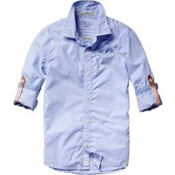 Scotch Shrunk Jungen Hemd 13410120502 - mix & match blue series + roll up sleeve, Gr. 140 (10), Mehrfarbig (E - dessin E)