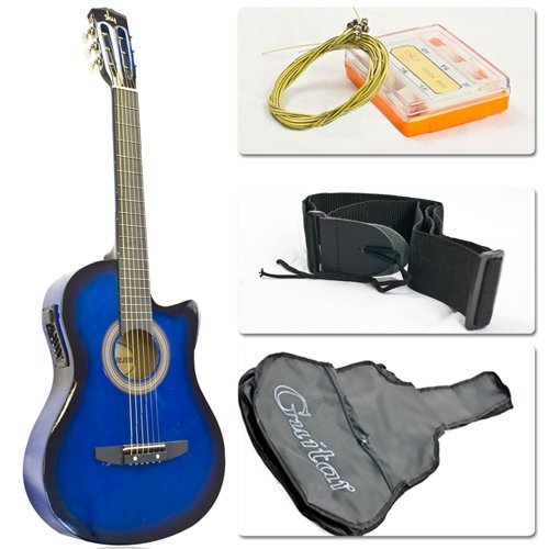 Electric Acoustic Guitar Cutaway Map With Guitar Case, Strap, Tuner Blue New