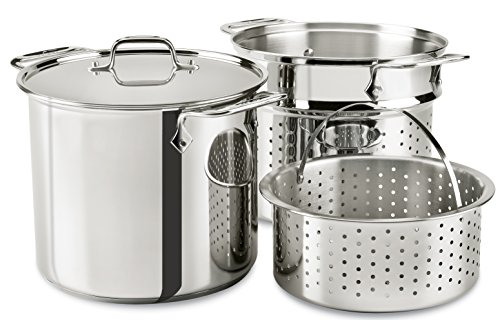All-Clad E9078064 Stainless Steel Multicooker with Perforated Steel Insert and Steamer Basket, 8-Quart, Silver (All Clad Dutch Oven Nonstick compare prices)