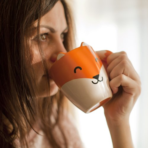 Thumbs Up FOXMUG Ceramic Fox Shaped Mug, Orange
