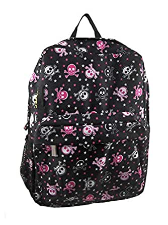 Black & Hot Pink Skull with Crossbones Backpack Bag