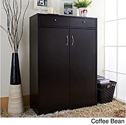 5-shelf Shoe Cabinet with Two Upper Storage Bins (Coffee Bean) by Furniture of America