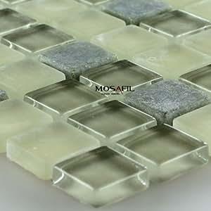 marmor glas mosaik fliesen gr n mix 15x15x5mm. Black Bedroom Furniture Sets. Home Design Ideas