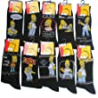 New 12 Pair Pack Mens Official SIMPSONS Cartoon Character Cotton Rich Short Mid Calf Length Socks. To Fit UK sizes 6-11