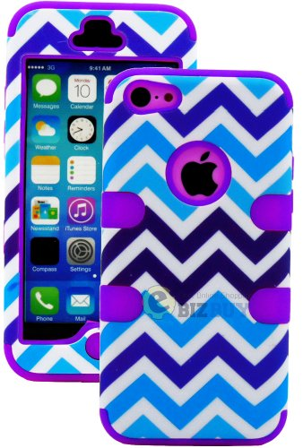 Mylife (Tm) Purple + Blue Zig Zag Style 3 Layer (Hybrid Flex Gel) Grip Case For New Apple Iphone 5C Touch Phone (External 2 Piece Full Body Defender Armor Rubberized Shell + Internal Gel Fit Silicone Flex Protector + Lifetime Waranty + Sealed Inside Mylif