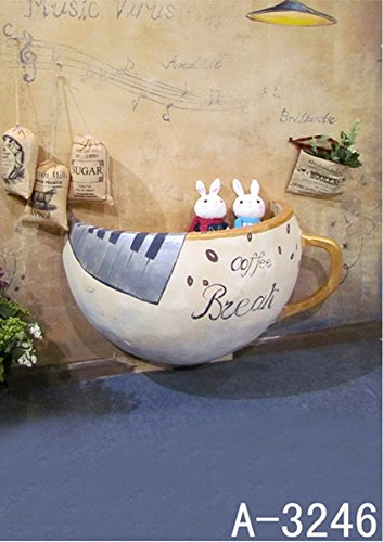 6.5 Ft*5 Ft (200cm*150cm) Coffee Cup Wall 3D Backgrounds Studio Indoor 3D Baby Backdrop Studio K-3246