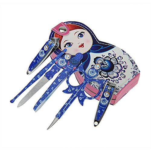 FakeFace Novelty Russian/Japanese Doll Girl Professional Personal Manicure & Pedicure Set 6pcs Portable Travel & Grooming Kit Tools in a Leather Case Gift