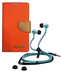 Aart Fancy Wallet Dairy Jeans Flip Case Cover for Blackberry9300 (Orange) + Zipper Earphones/Hands free With Mic *Stylish Design* for all Mobiles- computers & laptops By Aart Store.