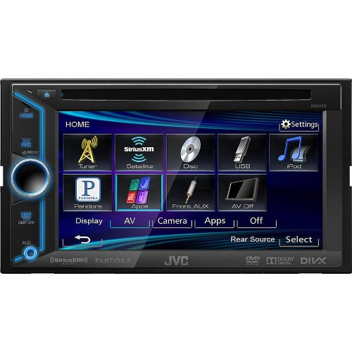 "Jvc Double-Din In-Dash Car Dvd Receiver With Large 6.1"" Touchscreen Display, Mp3 And Usb Input Capabilities, Am/Fm Tuner With Radio Data System, And Variable Color Display Illumination, Compatible With Iphone 5S/5C/5/4S/4/3Gs/3G/2G, And App Link Mode For"