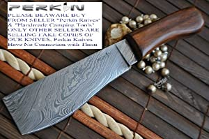 Custom Damascus Hunting Knife - Machete by Perkin Knives