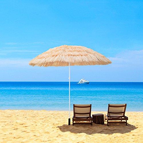 Uboys Living Tropical Thatch Umbrella Beach Patio Hawaiian Umbrellas, 6ft