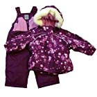 Zero Xposur Infant & Toddler Girls Purple Dots Snow Bibs & Fur Coat Snowsuit