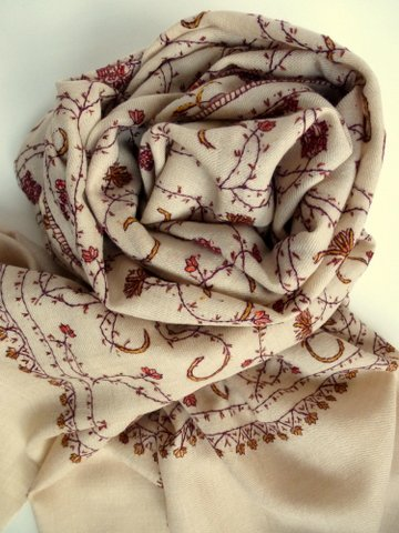 Jalidar Shawl from Kashmir -- Oatmeal -- Loom-woven in Pure Pashmina -- Fully hand embroidered in Pure Silk
