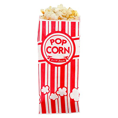 Great Features Of Carnival King Paper Popcorn Bags 1 Ounce Pack of 110 Red and White
