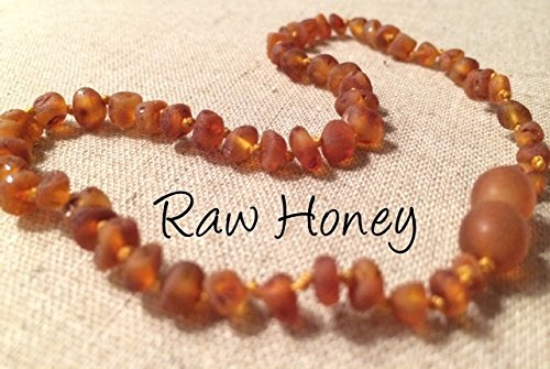 Baltic Amber Teething Necklace For Babies And Toddlers Raw Honey front-857252